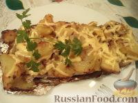 Скумбрия запеченная, фаршированная картофелем