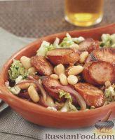 Тёплый салат с домашней колбасой