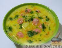 Сырный суп с курицей, сосисками и рисом