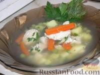 Суп из куриной грудки с зеленым горошком
