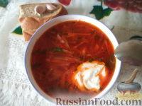 Украинский борщ со свиной ножкой и фасолью