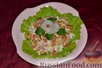 Вкусный салат с ветчиной, сыром, помидорами и сухариками