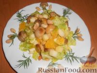 Салат с шампиньонами, апельсинами и арахисом