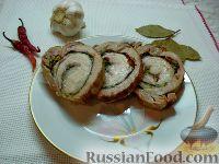 Мясной рулет из свиного подчеревка со шпинатом