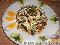 Салат с морской капустой и сухариками