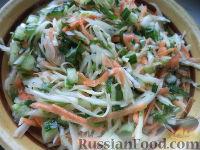 Салат из белокочанной капусты, огурцов и моркови