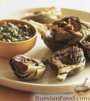 Жареные на гриле артишоки с оливковым соусом