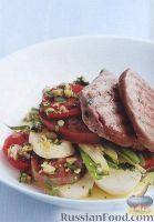 Салат из картофеля, помидоров и стручковой фасоли