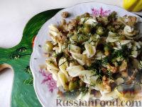 Макароны с цветной капустой и горошком