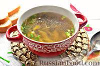 Постный грибной суп с овощами и шпинатными макаронами