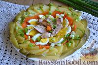 Праздничный салат с курицей и картофелем