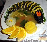Заливное и фаршированная рыба с сырно-апельсиновым соусом