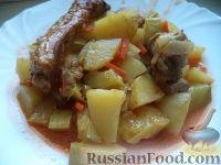 Рагу из свиных ребрышек, с картофелем и кабачками