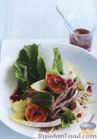 Салат с утиным мясом, инжиром, цикорием, гранатом и зеленью