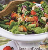 Летний овощной салат с крутонами