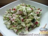 Салат из белокочанной капусты, огурцов и редиса