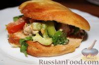 Салат с куриным филе, болгарским перцем, шпинатом (в лепешке)