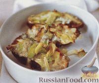 Печеный батат с пореем и сыром