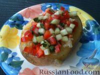 Картофель с сыром и овощным салатом