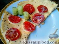Омлет на кефире, с помидорами
