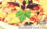Запеканка из баклажанов, с курицей, помидорами и сыром