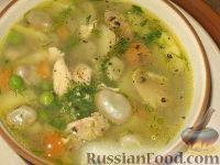 Суп из молодых бобов и зеленого горошка