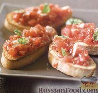 Чесночные тосты с помидорами и базиликом