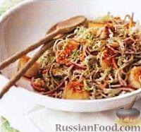 Салат из пекинской капусты, со спагетти и морскими гребешками