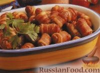 Колбаски в беконе