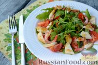 Салат из морепродуктов, с помидорами и рукколой
