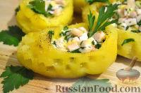 Горячая закуска из картофеля, с ветчиной и сыром