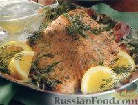 Запеченный лосось с укропом, под соусом из йогурта