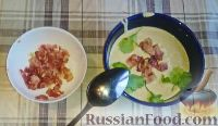 Крем-суп из шампиньонов, с беконом