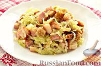 Салат из редьки, с беконом и сухариками