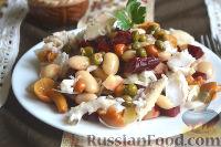 Винегрет с судаком, грибами, фасолью, капустой и каперсами