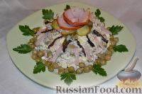 Салат из ветчины с черносливом и маринованным огурцом