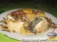 Семга, запеченная с овощами
