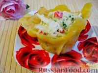 Крабовый салат в сырной корзинке