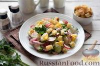 Весенний салат с редисом, огурцами и яйцами