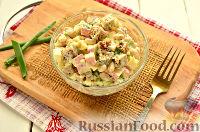 Салат с крабовыми палочками, фасолью и сухариками