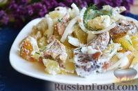 Теплый картофельный салат с солеными грибами