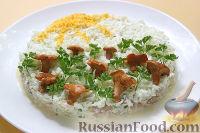 Салат с копчёной курицей и маринованными грибами