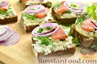 Бутерброды с копченым лососем и творогом