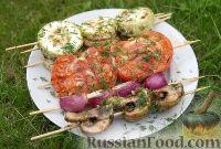 Овощи на шпажках, на мангале