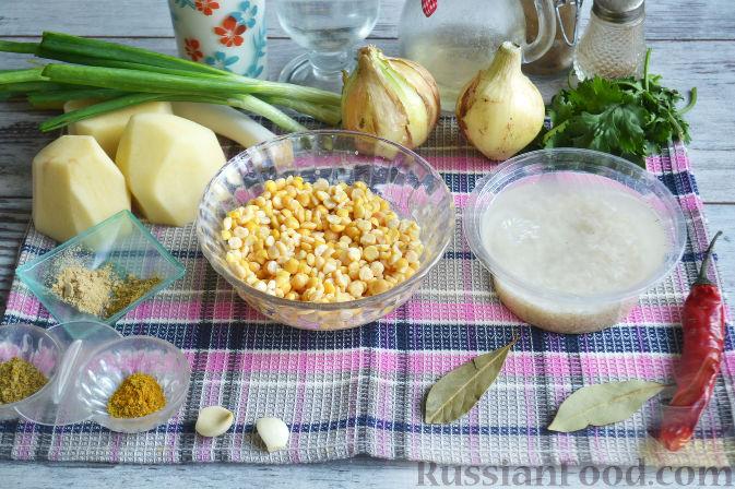 Как приготовить гороховый суп с курицей и рисом:     Горох замачиваем в воде на 8 часов. Затем сливаем воду и промываем горох. Рис заливаем водой.