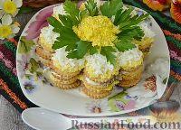 Закусочный торт-салат из крекеров, с рыбными консервами