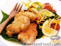 Рыба в кокосовом кляре и салат из манго