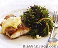 Рыба под оливковым голландским соусом и салат из свеклы и сыра фета