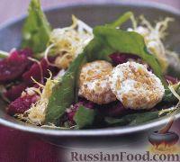 Салат из свеклы, руколы и козьего сыра