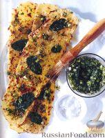 Жареный тонкий хлеб с мятой и зеленым луком